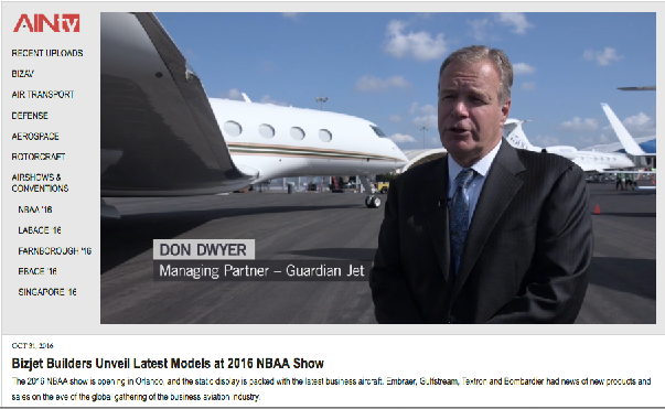 Don Dwyer AINTV NBAA16 Interview Guardian Jet