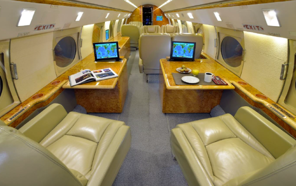Gulfstream GIV-SP sn 1301 interior workstations with popup monitors