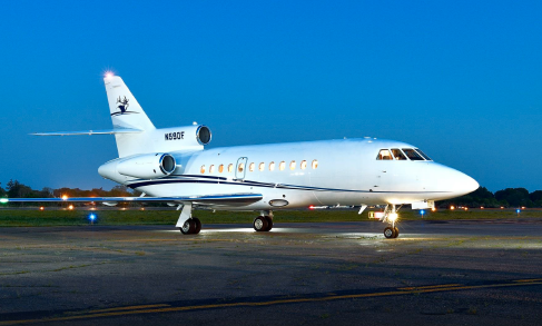 Dassault Falcon 900B SN 98 Guardian Jet aircraft for sale - exterior night